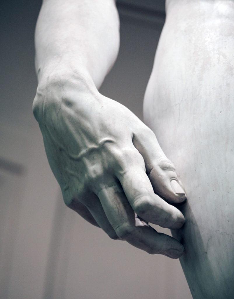 Dettaglio David di Michelangelo alla Galleria dell'Accademia